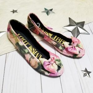 Sam & Libby Floral bow flats watercolor pink green